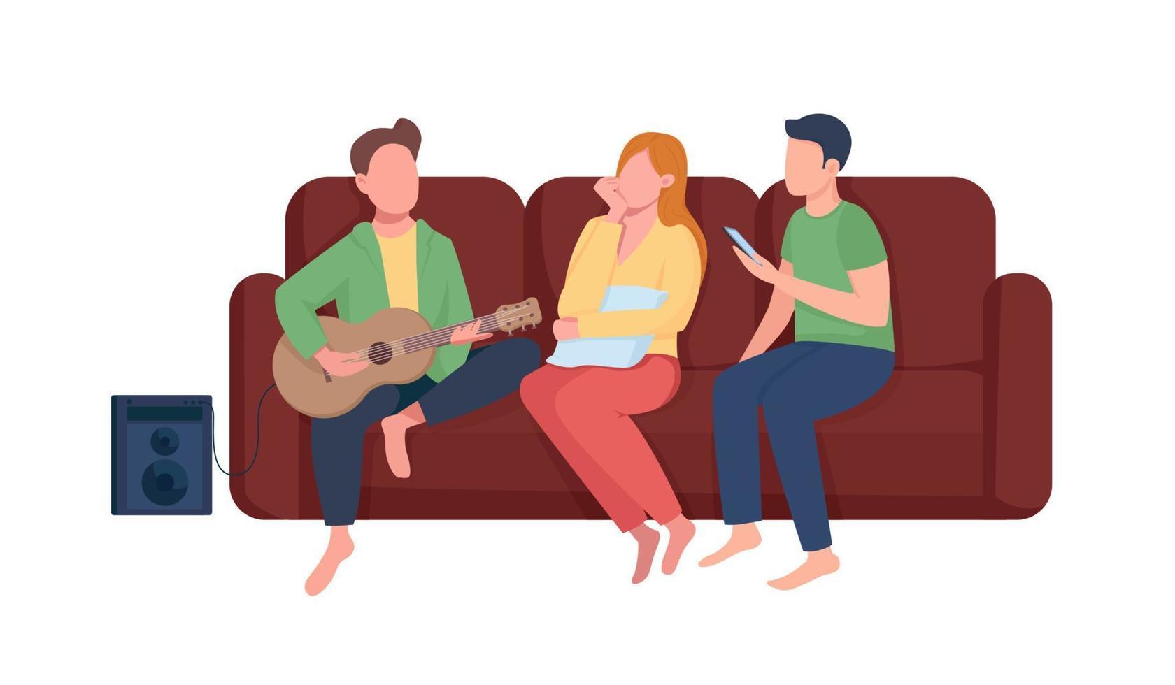 amigos ouvem música personagens vetoriais de cor semi-plana vetor