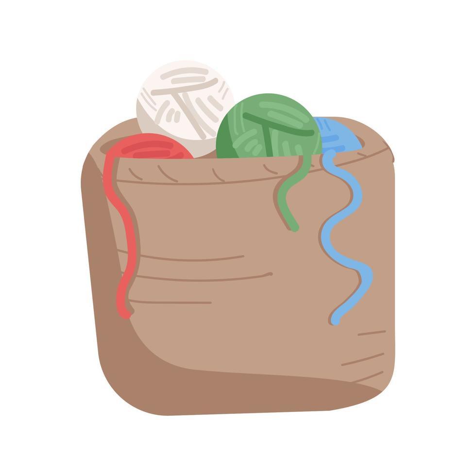 objeto de vetor de bolas de lã de tricô de cor semi-plana