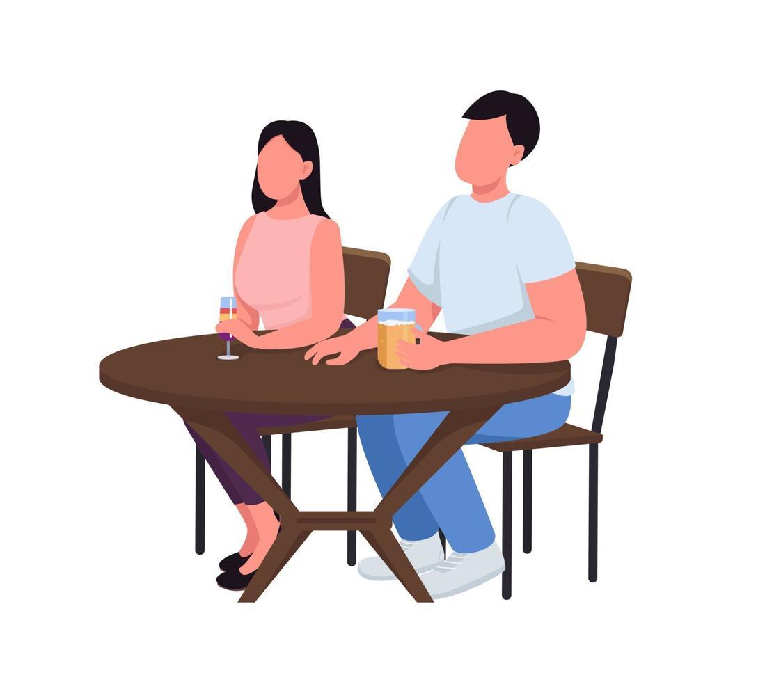 casal no bar personagens vetoriais de cor semi-plana vetor