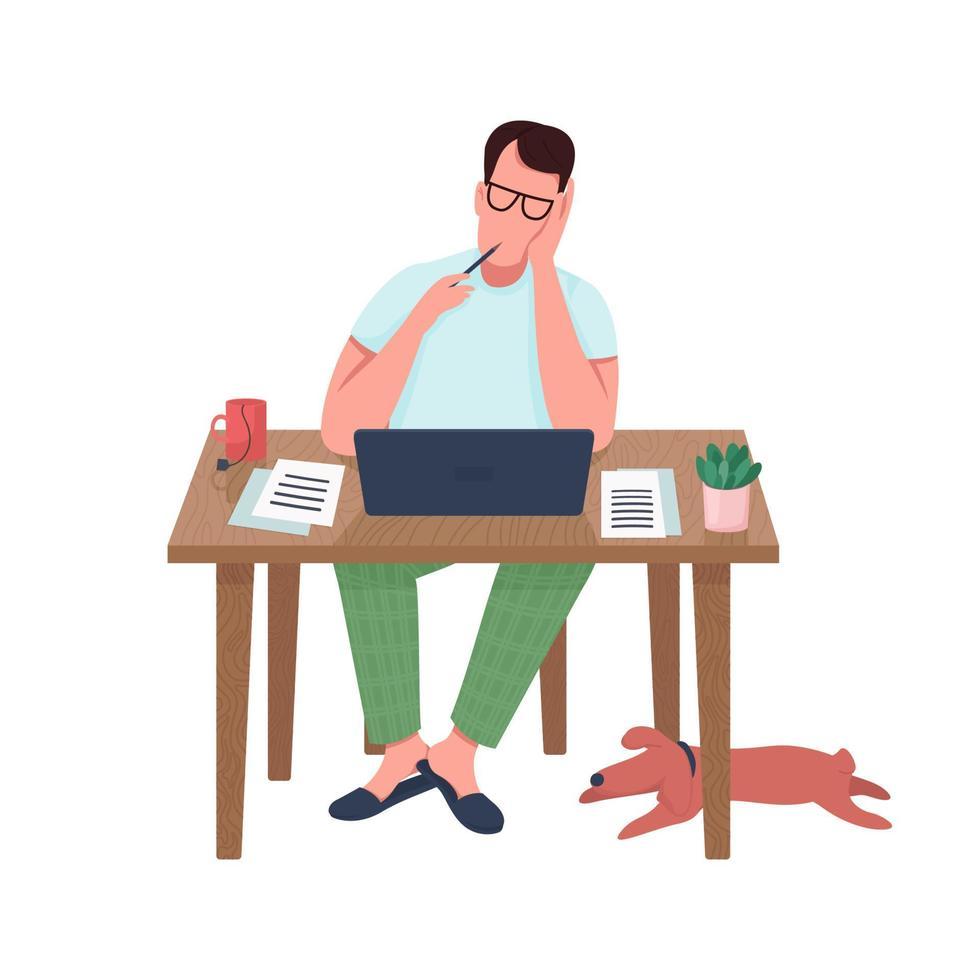 escritor no computador personagem de vetor de cor semi-plana