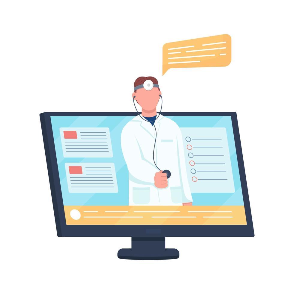 computador com objeto vetorial de cor semi-plana chamada médico vetor