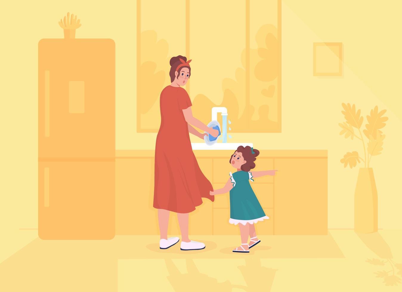 filha distrai ilustração vetorial de cor plana para os pais vetor