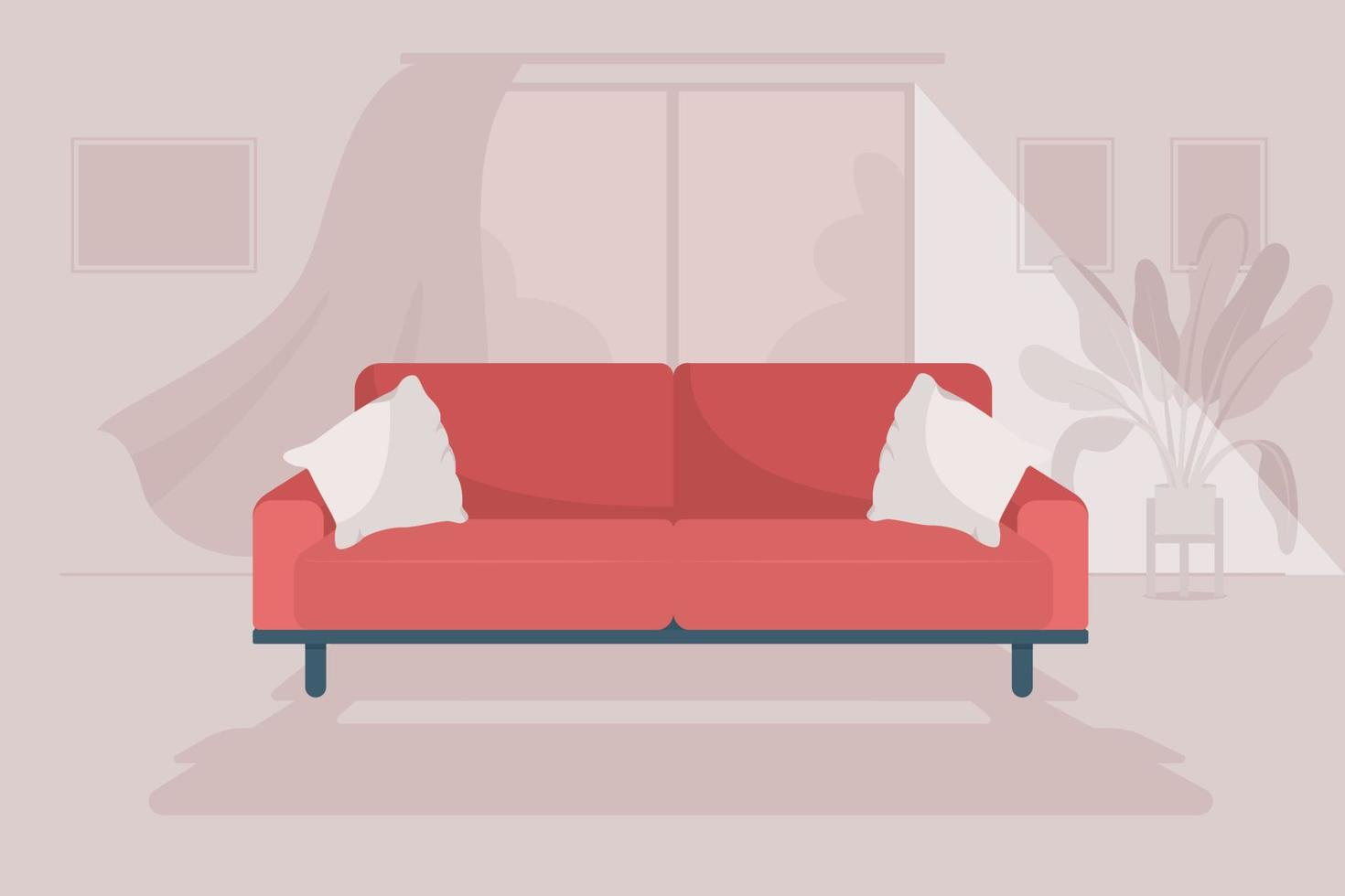 ilustração vetorial de cor plana de sala de estar aconchegante vetor