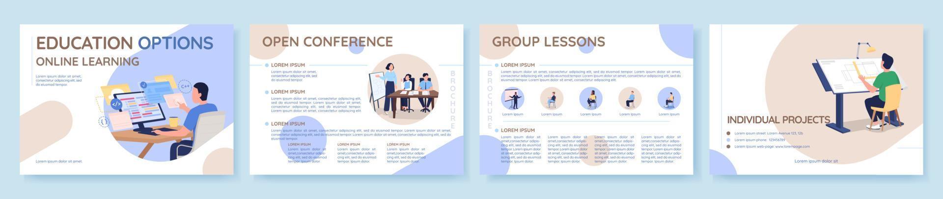 modelo de folheto de vetor plano de opções de educação on-line