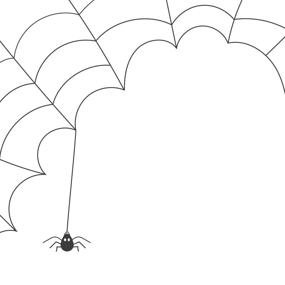 aranha na web, banner de halloween isolado no fundo branco. ilustração vetorial. vetor