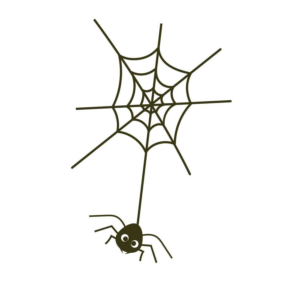 aranha na web, símbolo de halloween, isolado no fundo branco. ilustração vetorial. vetor