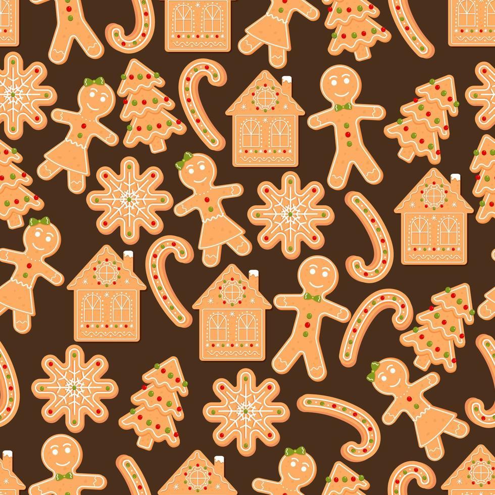 padrão sem emenda com homem-biscoito, floco de neve, casa, doces. biscoito de natal. ilustração do vetor dos desenhos animados no fundo marrom.