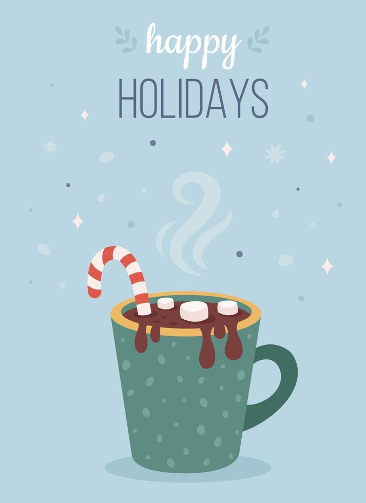 bebida quente de Natal com marshmallow e bastão de doces. Boas festas cartão. vetor