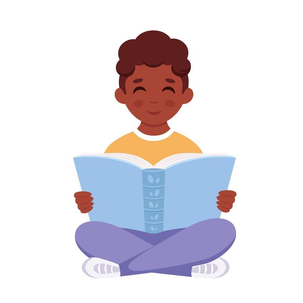 livro de leitura do menino negro. menino estudando com um livro. vetor
