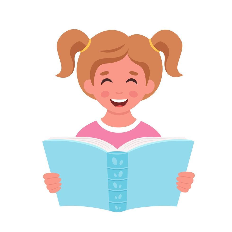livro de leitura de menina. menina estudando com um livro. vetor