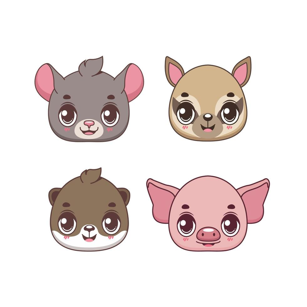 coleção de quatro ícones de animais felizes vetor