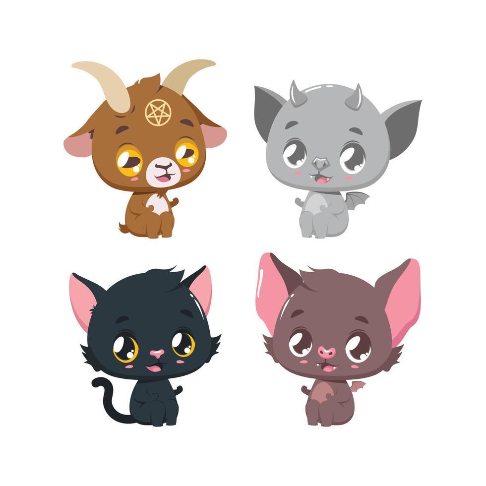 quatro animais fofos dos desenhos animados do halloween vetor