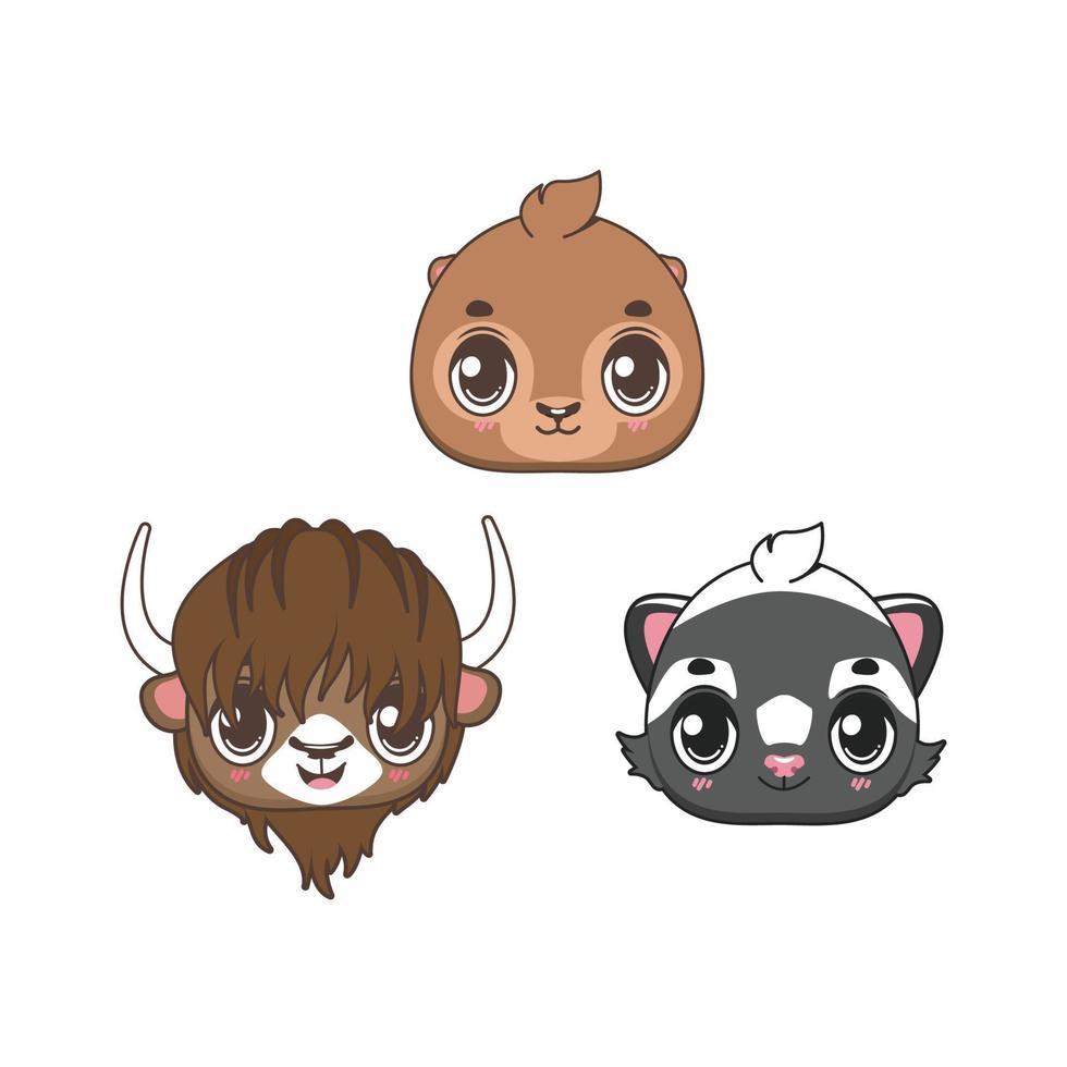 coleção de quatro ícones de animais fofos vetor