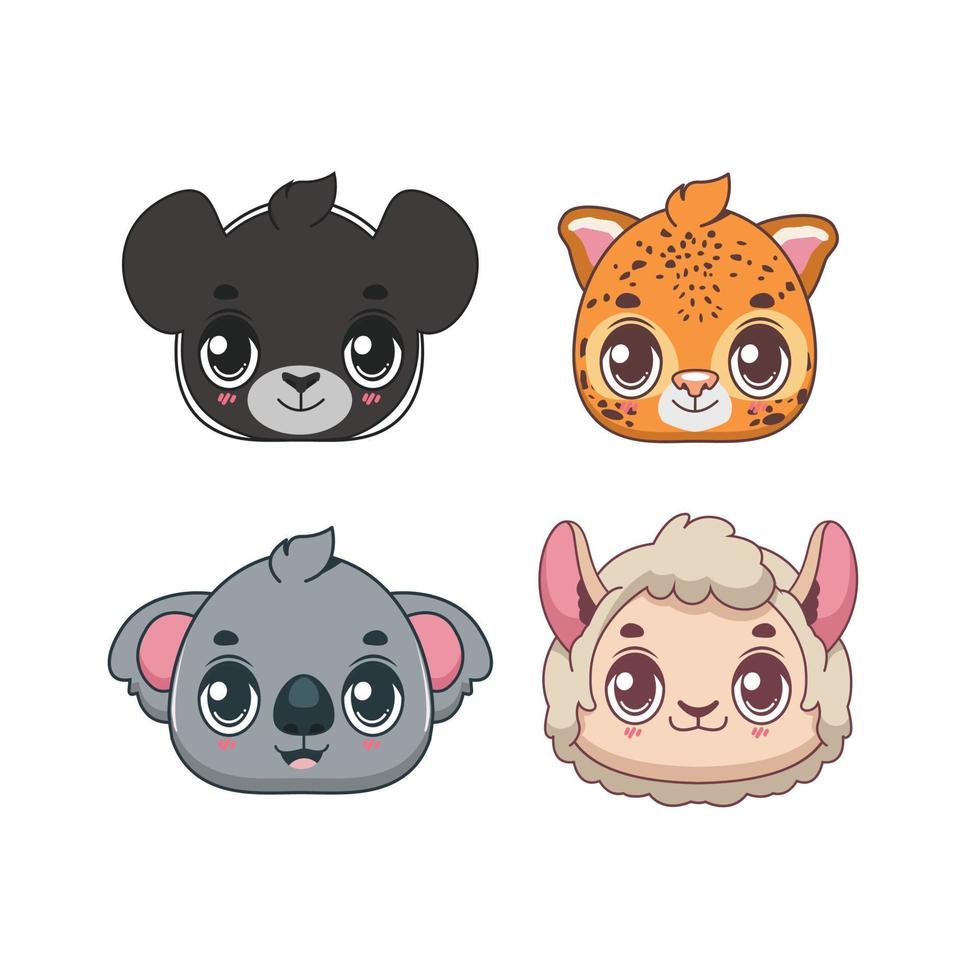 coleção de ícones de animais selvagens bonitos dos desenhos animados vetor