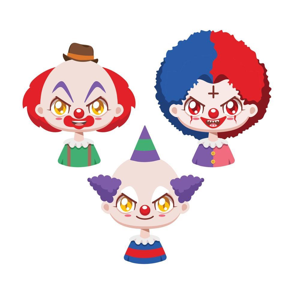 coleção de três palhaços de desenho animado assustador vetor
