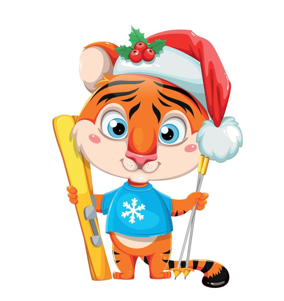 Feliz Natal. tigre personagem de desenho animado fofo vetor