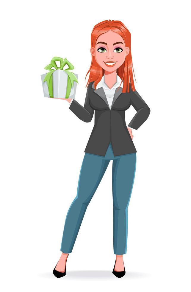 linda mulher de negócios segurando uma caixa de presente vetor