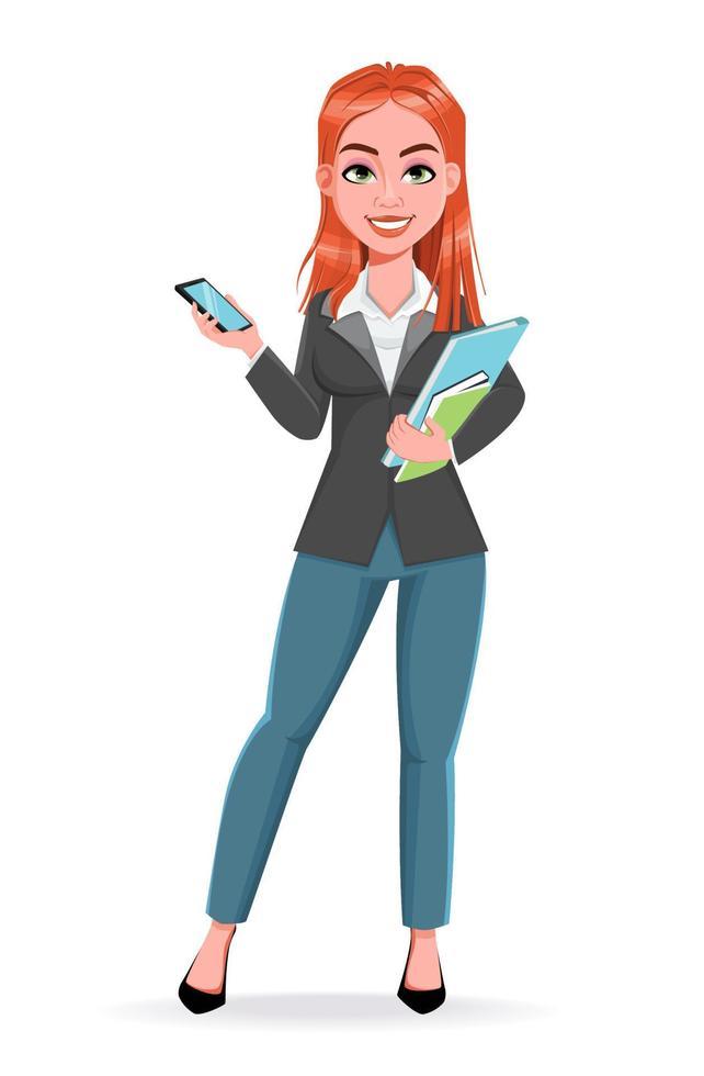 linda mulher de negócios segurando um smartphone vetor