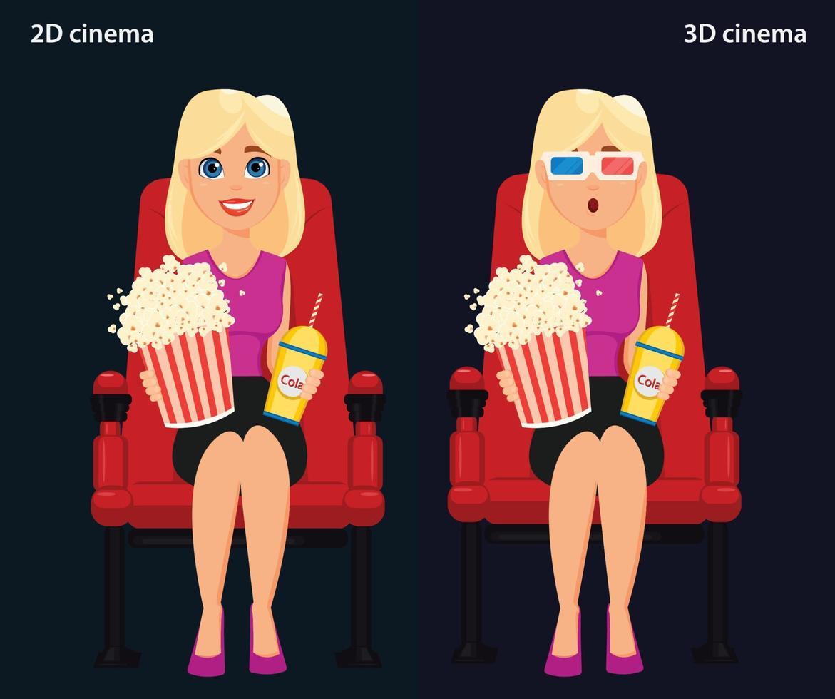 mulher sentada no cinema e assistindo a um filme, cinema 2D e 3D. vetor