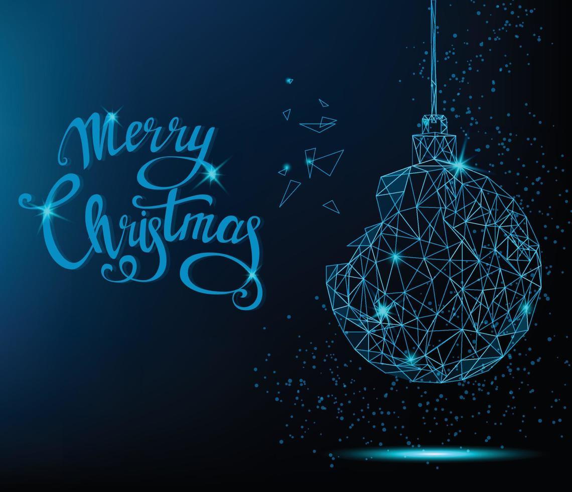 cartão de feliz Natal. bola azul da árvore de Natal com letras manuscritas. vetor