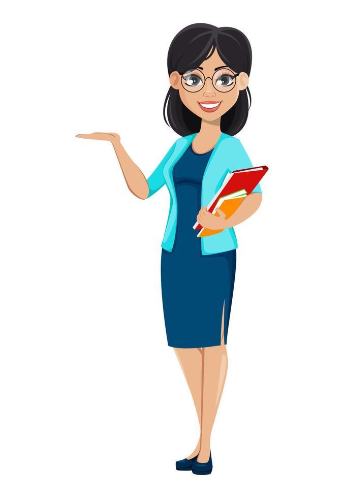 de volta à escola. professora personagem de desenho animado vetor