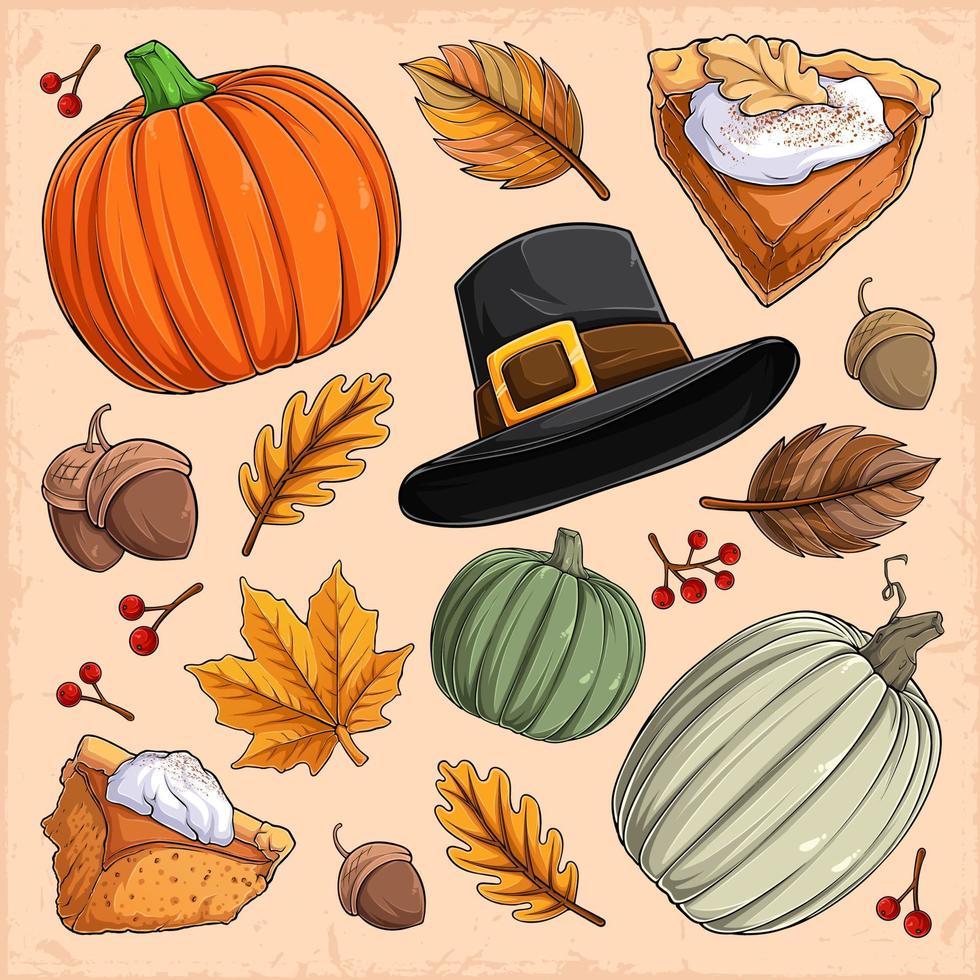 coleção de elementos de ação de graças, torta de abóbora, chapéu de peregrino, nozes, cranberries e folhas vetor