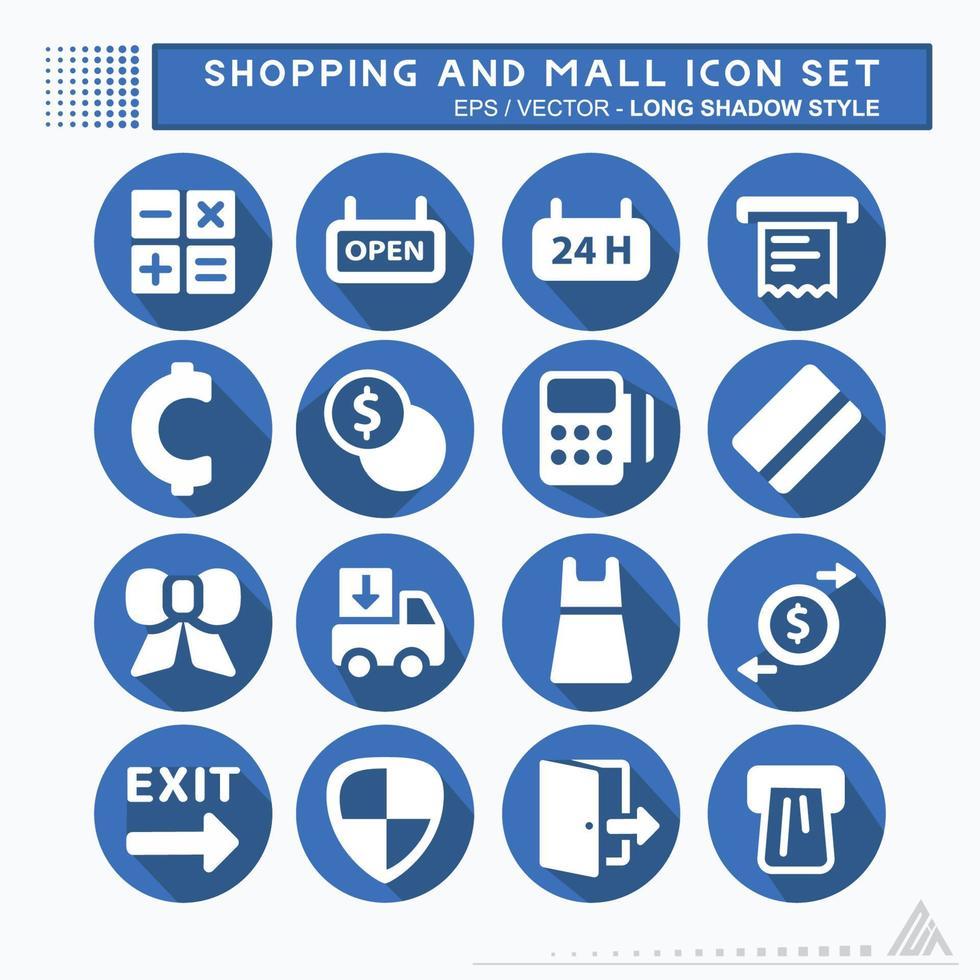 definir ícone shopping e shopping - estilo sombra longa vetor