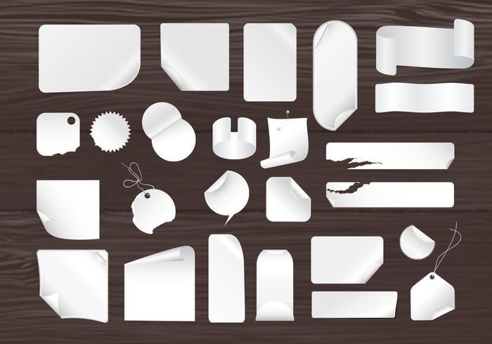 Pacote de vetores de notas pegajosas e painéis de madeira