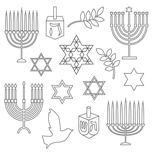 selos digitais de Hanukkah de contorno preto vetor