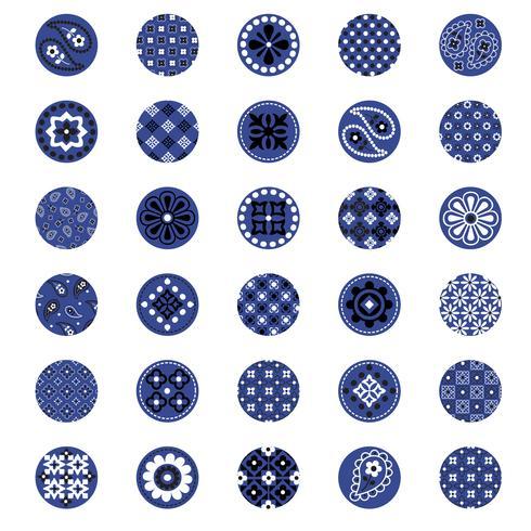 círculos de padrão de bandana azul vetor