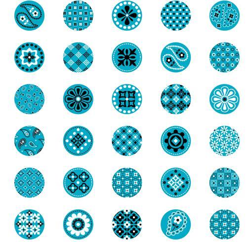círculos de padrão de bandana azul turquesa vetor
