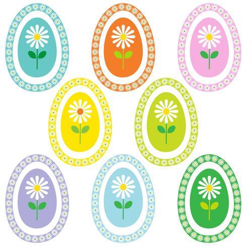margarida em gráficos dos quadros do ovo da páscoa, vetor