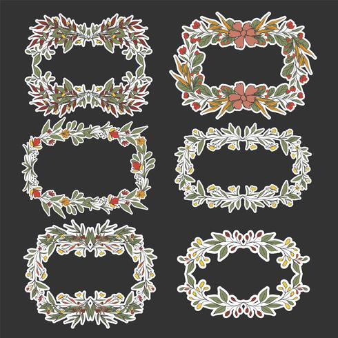 Fundo floral do esboço da grinalda para o casamento. vetor