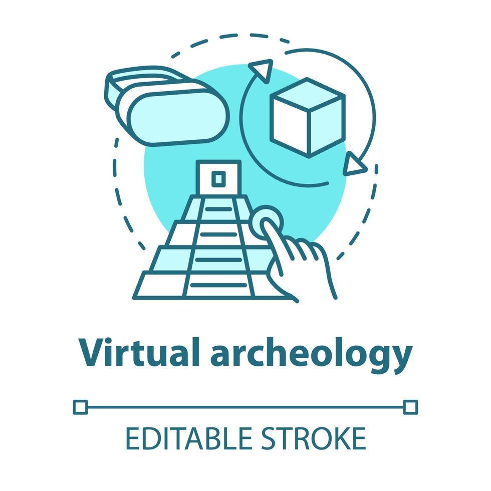 ícone do conceito de arqueologia virtual vetor