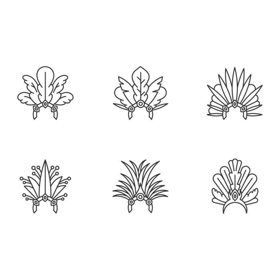 Conjunto de ícones lineares perfeitos de pixel de chapéu de carnaval brasileiro vetor