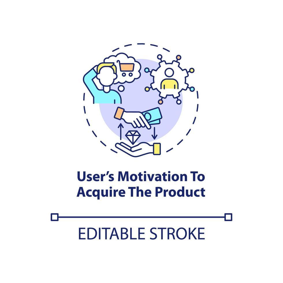 motivação do usuário para o ícone do conceito de aquisição de produto vetor