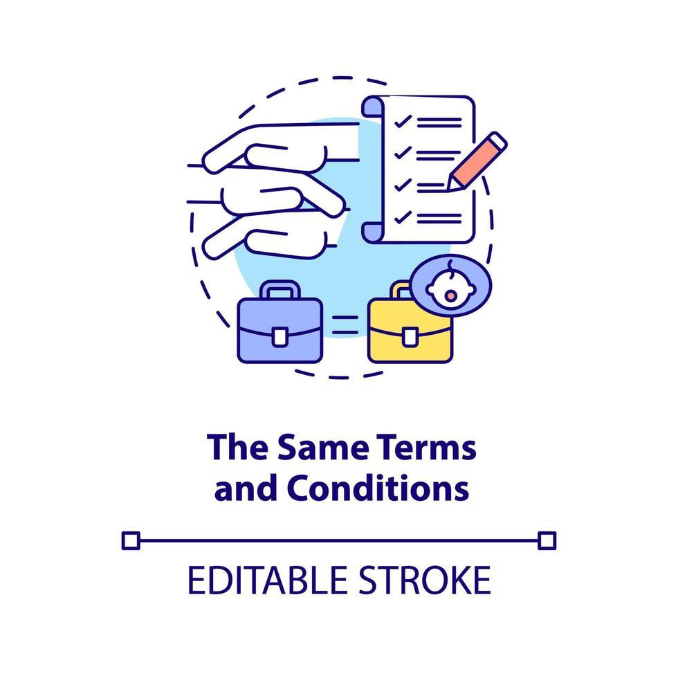 ícone do conceito dos mesmos termos e condições vetor