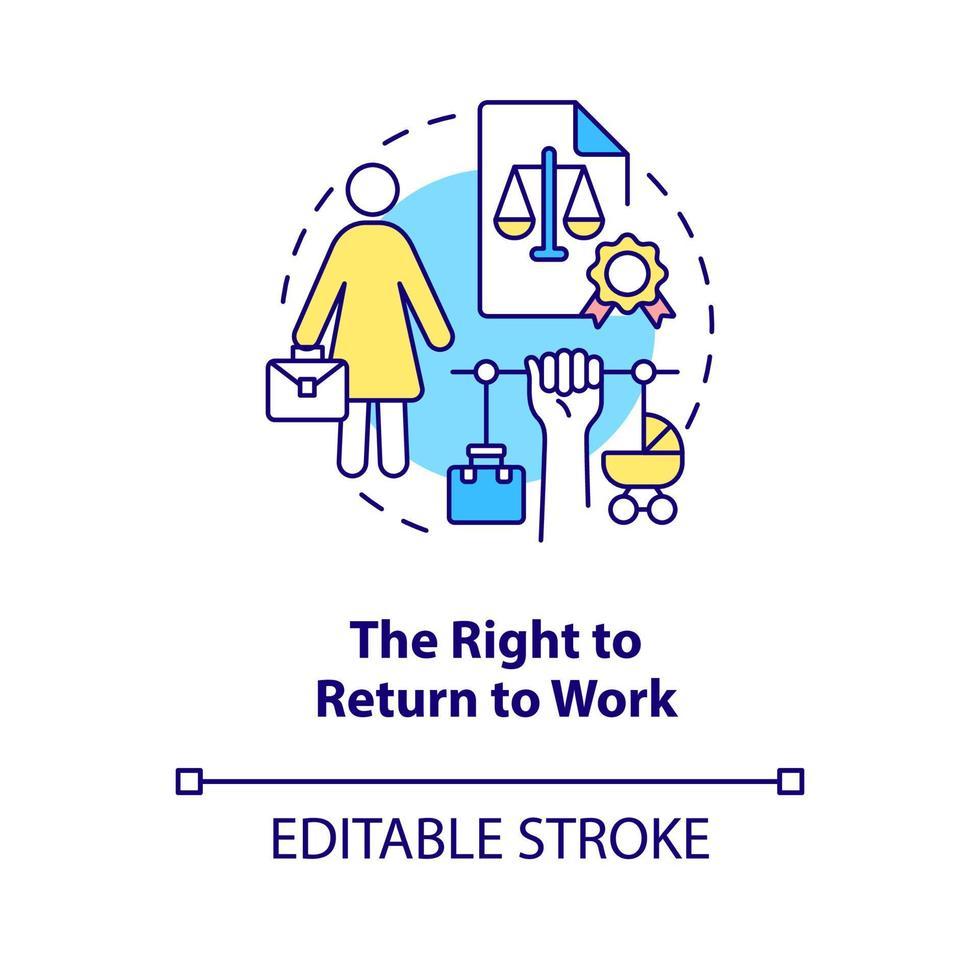 direito de voltar ao ícone do conceito de trabalho vetor