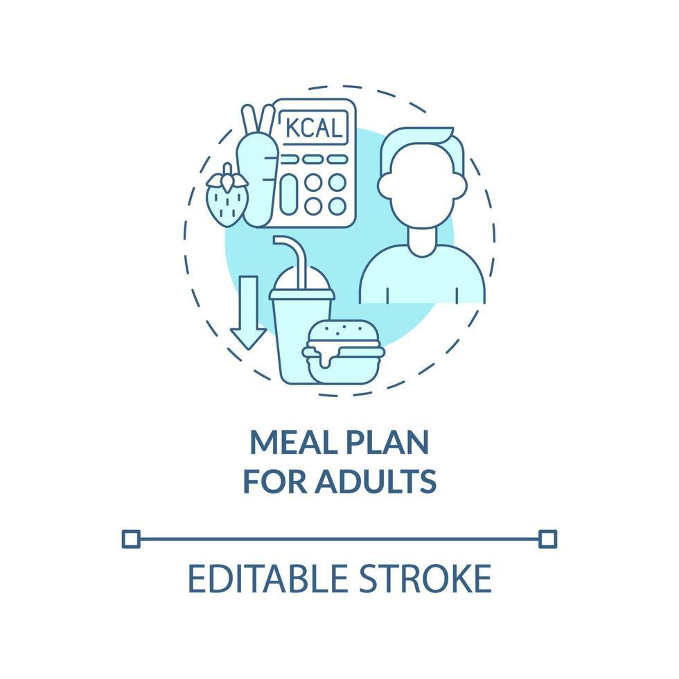plano de refeição para ícone de conceito azul de adultos vetor
