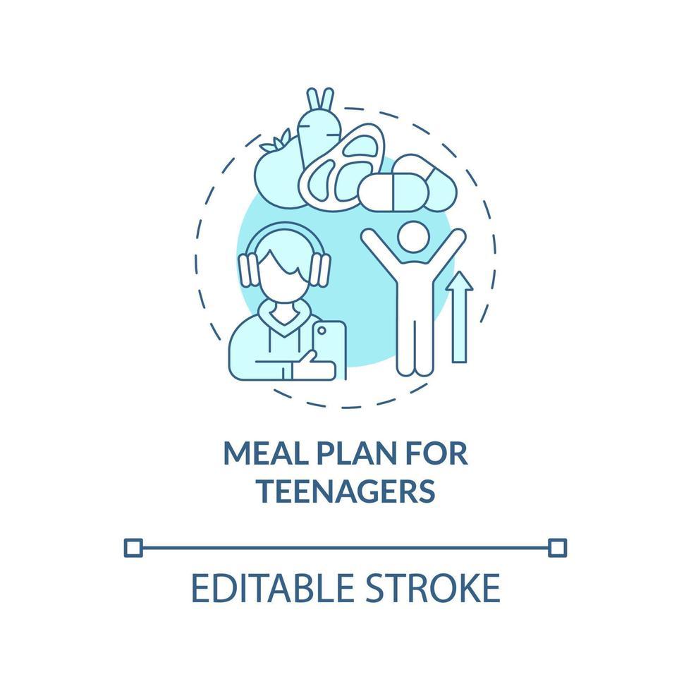 plano de refeições para adolescentes ícone do conceito azul vetor