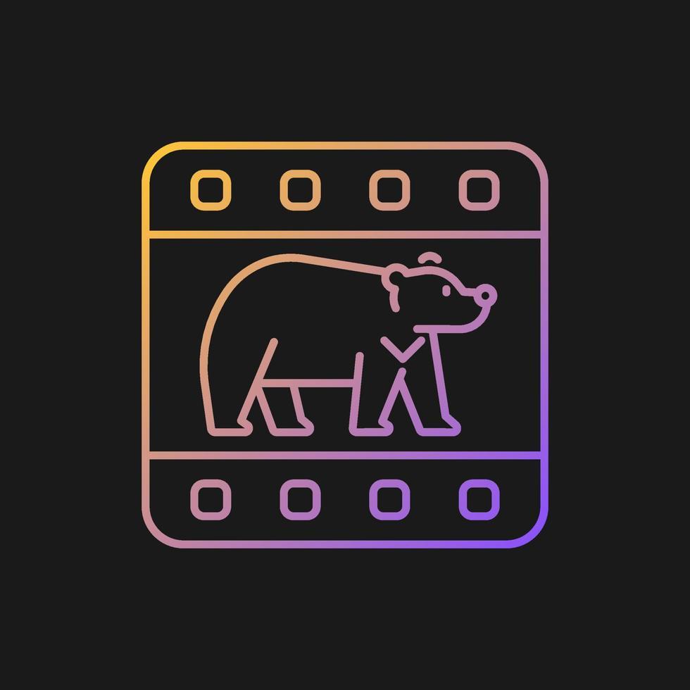 ícone de gradiente de documentário de vida selvagem para tema escuro vetor