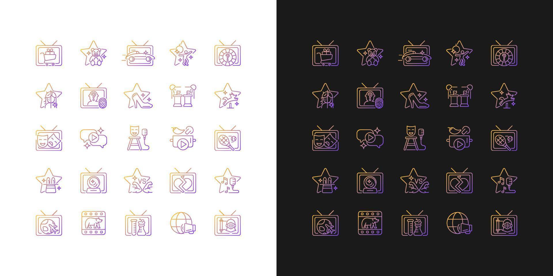 ícones gradientes do programa de tv configurados para modo claro e escuro vetor
