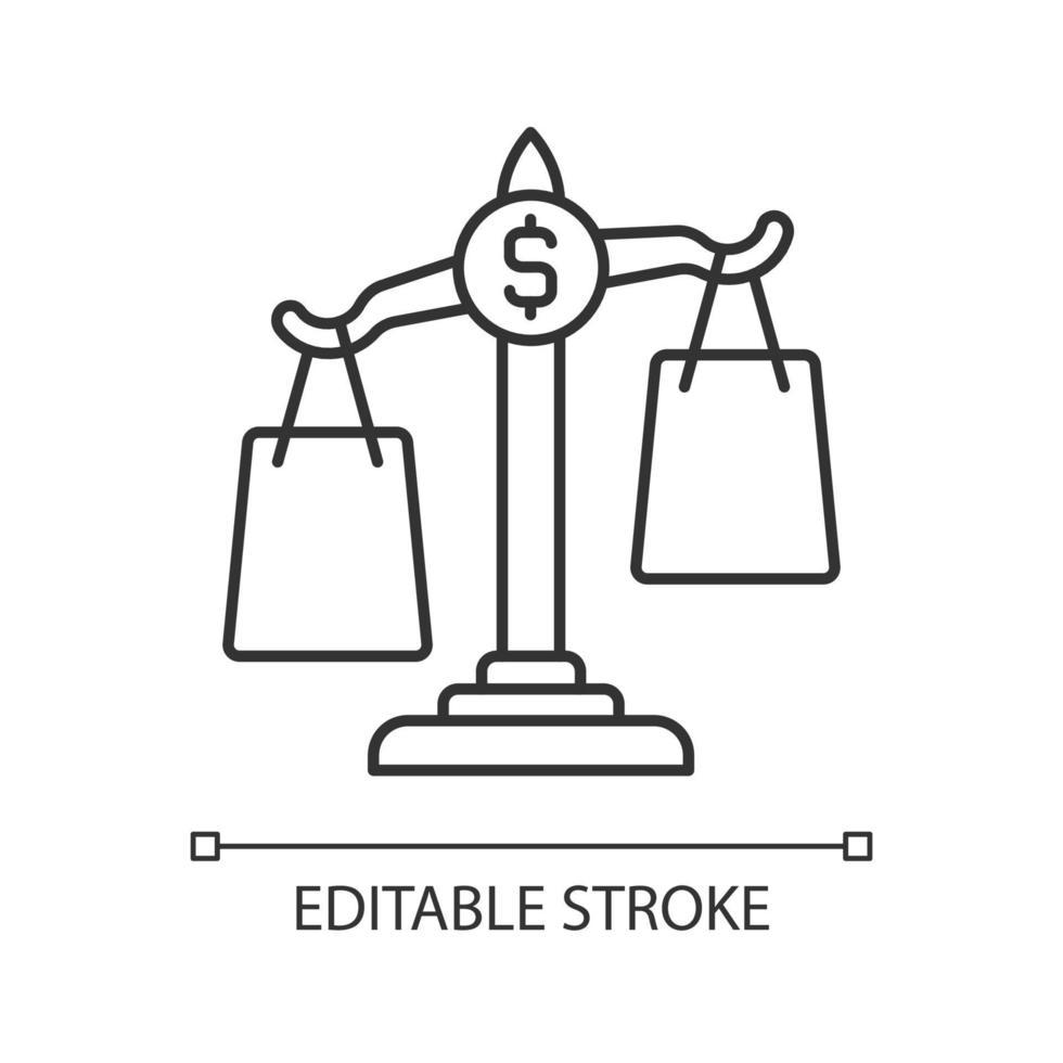 ícone linear de comparação de compras vetor