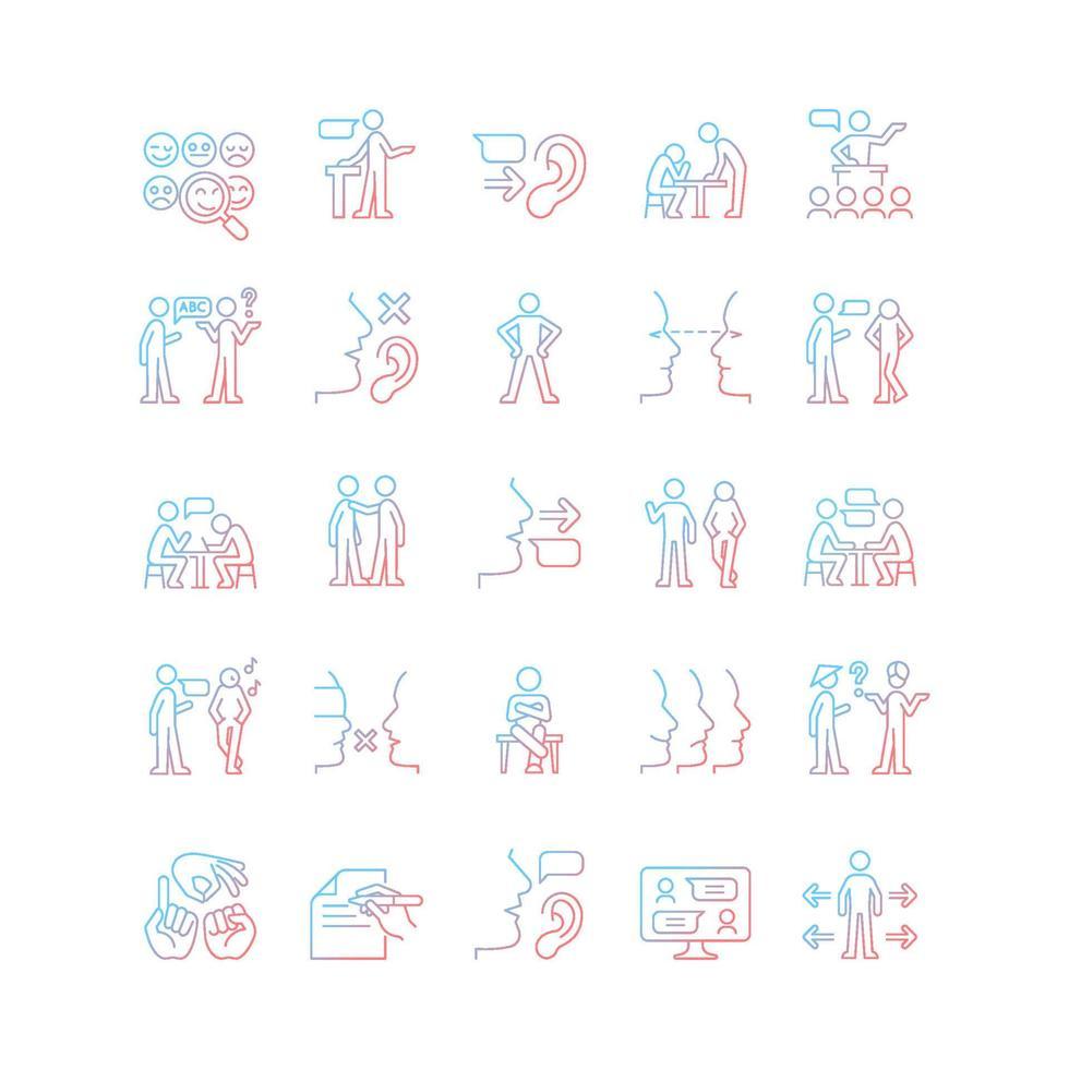 conjunto de ícones de vetor linear gradiente de canal de comunicação