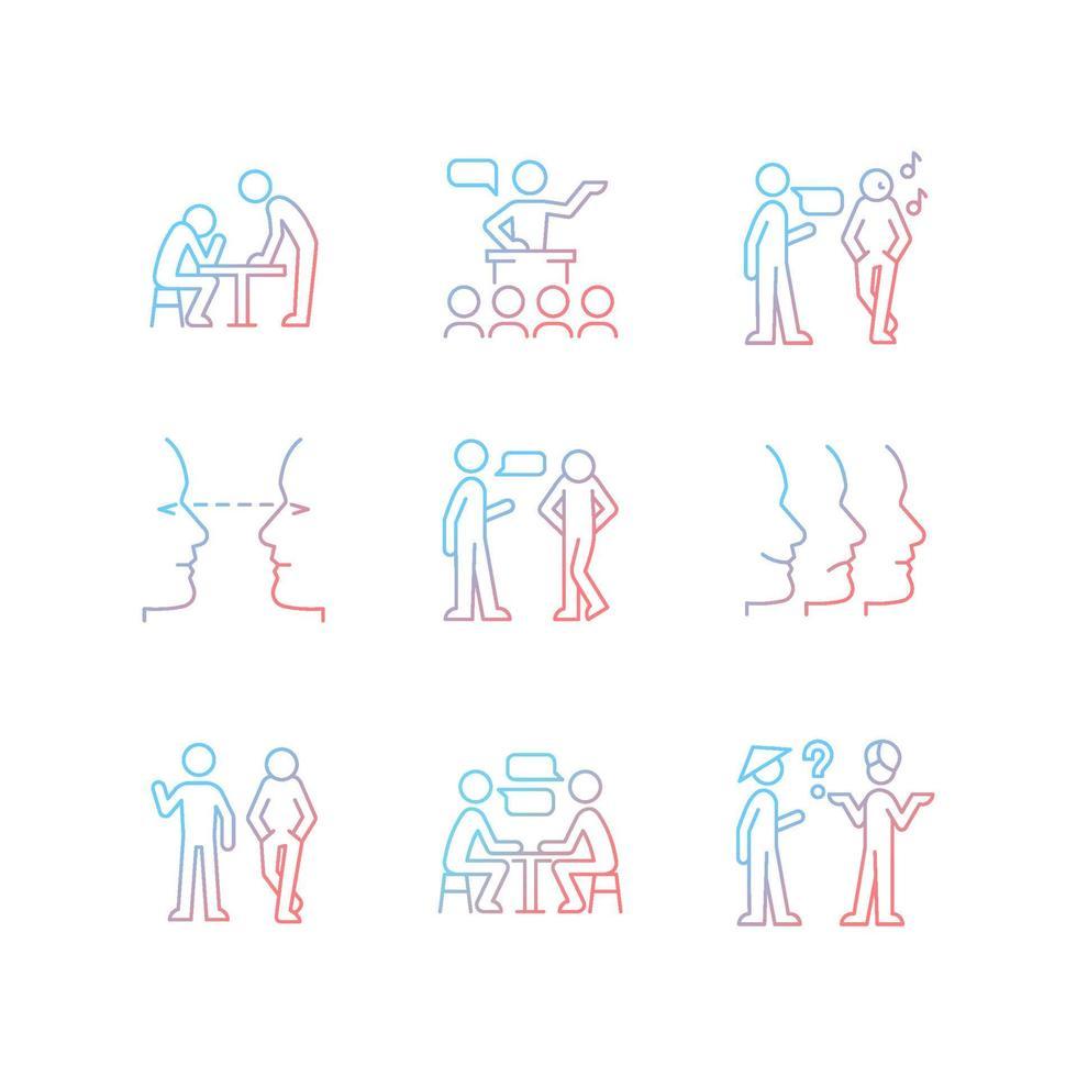 conjunto de ícones de vetor linear gradiente de processo de comunicação