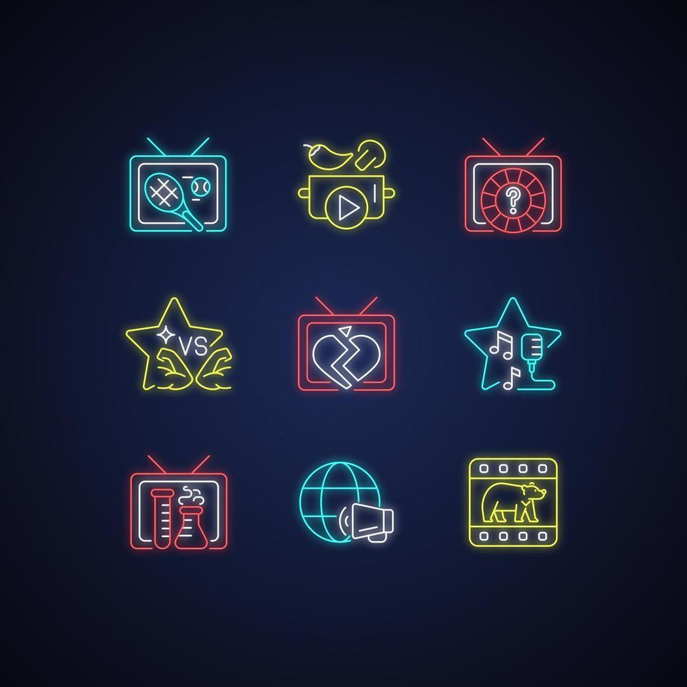 conjunto de ícones de luz de néon da tv vetor