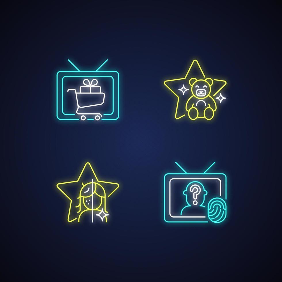 conjunto de ícones de luz de néon da televisão vetor