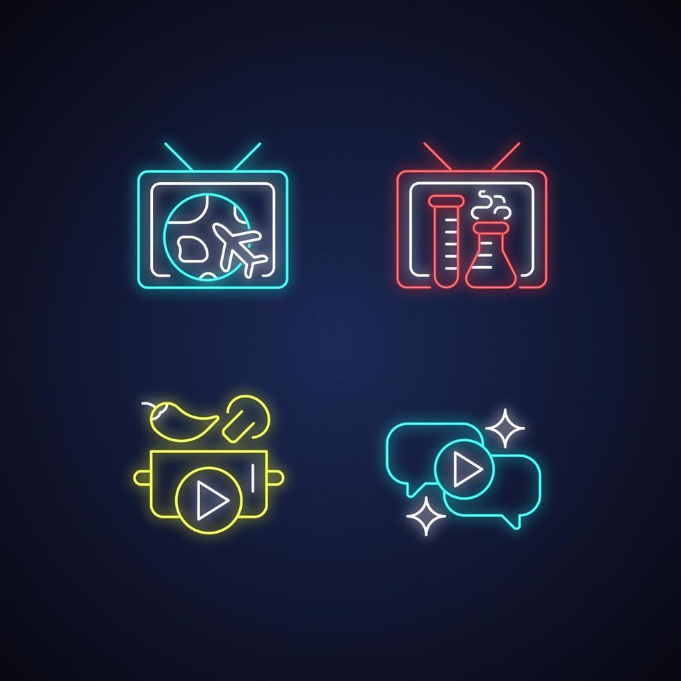 conjunto de ícones de luz de néon da série de tv vetor