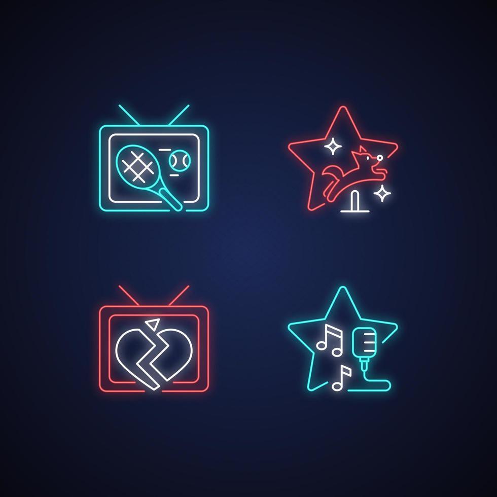 conjunto de ícones de luz de néon de gêneros de séries de televisão vetor