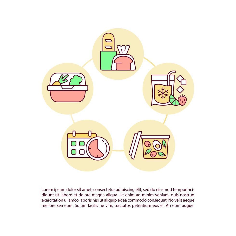 dicas para manter ícones de linha de conceito de refeições com texto vetor